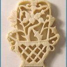 Antique Chinese Carved Bone Lotus Basket Pendant - Free USA Shipping