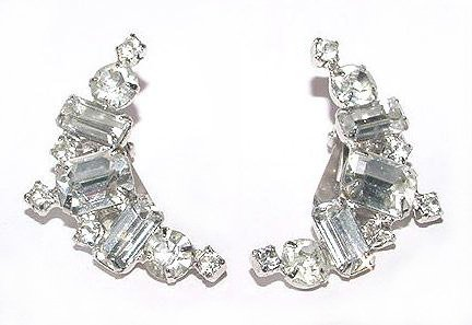 Brilliant Emerald-Cut 1960s Rhinestone Earrings