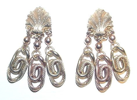 Long 1950s Victorian Revival Chandelier Earrings - Free USA Shipping