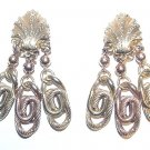 Long 1950s Victorian Revival Chandelier Earrings