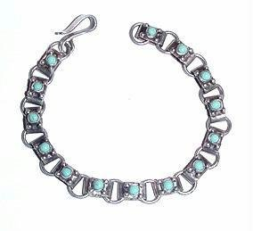 Vintage Mexican Sterling Silver & Turquoise Child's Bracelet