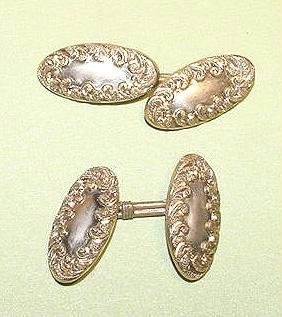 Art Nouveau Pink Rolled Gold Fancy Cufflinks