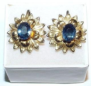 Vermeil Sterling Screwback Earrings with Faceted Blue Stones -Free USA Shipping