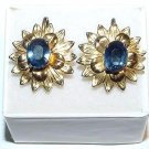 Vermeil Sterling Screwback Earrings with Faceted Blue Stones