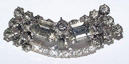 Vintage Black Diamond Rhinestone Brooch