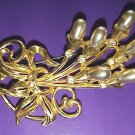 Thirties Large Gilt Pearl Spray Brooch - Free USA Shipping