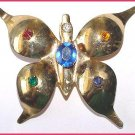 Large Vintage Butterfly Brooch with Colored Stones - Free USA Shipping