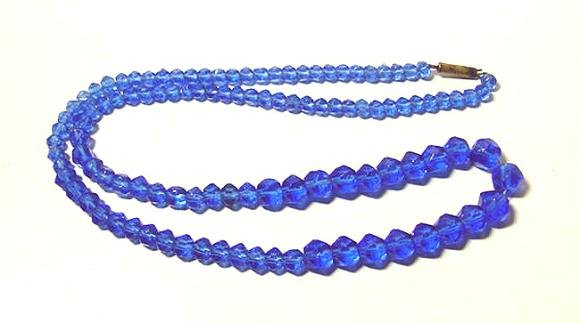 Antique Late Victorian Blue Glass Beads - Great Color - Free USA Shipping