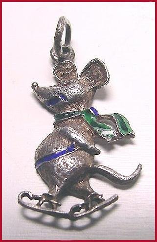 Enameled Sterling Skating Mouse Pendant - Free USA Shipping
