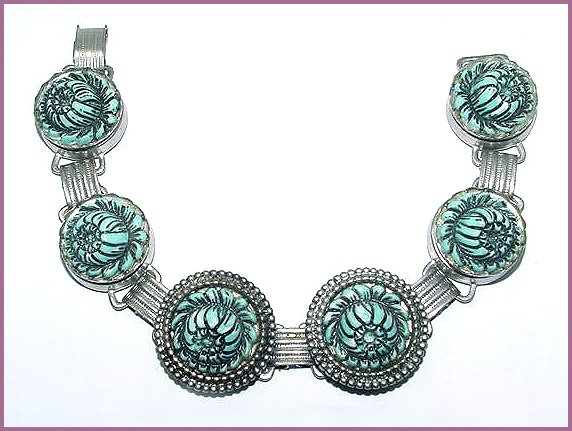 Vintage Turquoise Chrysanthemum Bracelet and Earrings Set - Free USA Shipping