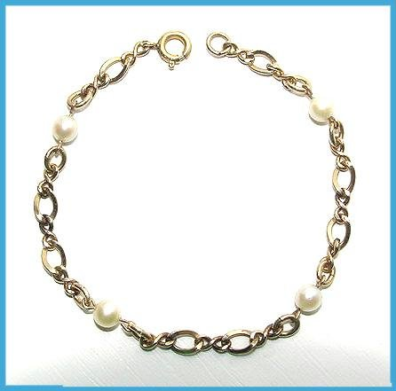 Vintage Cultured Pearls & Gold Filled Bracelet - Free USA Shipping