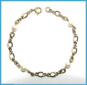 Vintage Cultured Pearls & Gold Filled Bracelet - Free USA Shipping