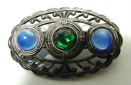 Art Deco Sterling And Blue and Green Stones Brooch