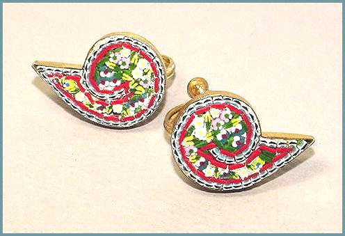 Signed Forties Vintage Mosaic Earrings