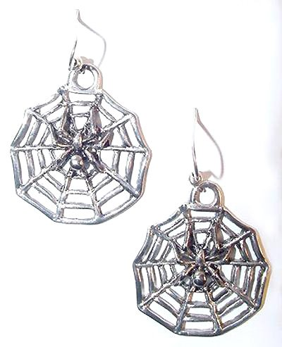 Large Spider & Web Sterling Earrings