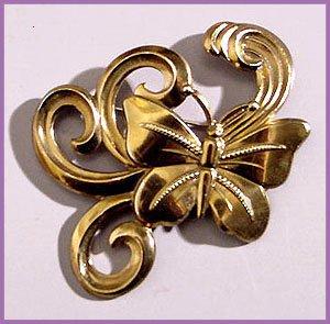 1940s Retro Large Brass Butterfly Brooch