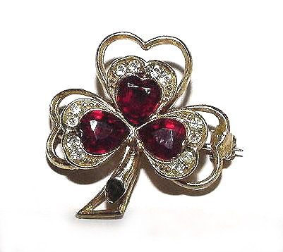 Vintage Clover Brooch - Red and Clear Rhinestones - Free USA Shipping