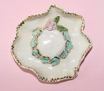 Pottery Forget-Me-Nots Picture Hat Brooch - Free USA Shipping