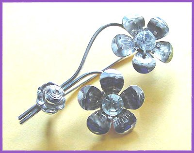 Elegant 1940s Large Sterling Floral Brooch