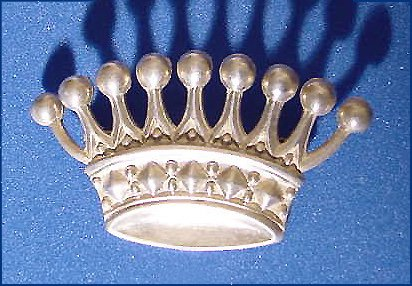 Vintage Sterling Crown Brooch