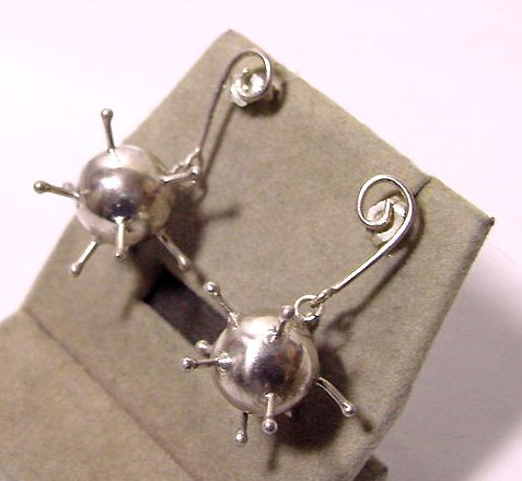Hallmarked Spiky Sterling Medieval Mace Pierced Earrings