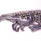 Vintage Sterling and Marcasites Shrimp Brooch