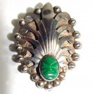 Signed Mexican Sterling Brooch - Aztec Headdress