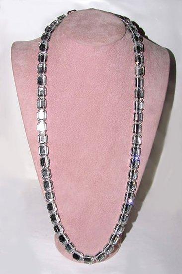 Vintage Stoplight Rhinestones Long Necklace