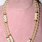 Sautoir Pearl Necklace with Enamel and Rhinestones