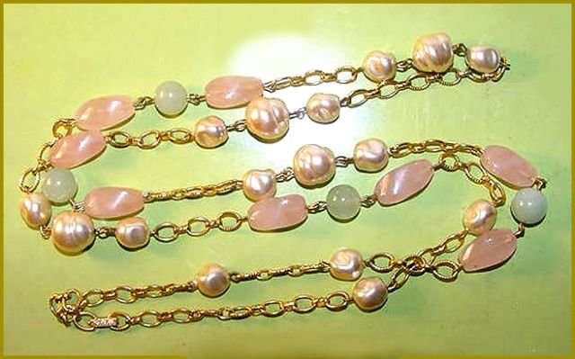 Kenneth Jay Lane Attributed Rose Quartz & Jade Beads Necklace