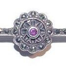 Art Deco Sterling Bar Pin With Marcasites and Ruby