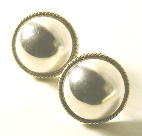Vintage Mexican Sterling Dome Earrings - Pierced