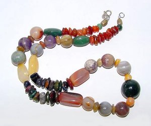 Colorful Multistone Semiprecious Beads Necklace - Free USA Shipping