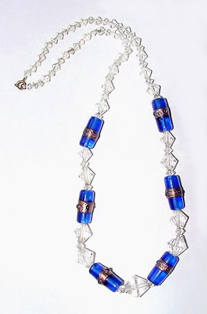 Faceted Crystal and Cobalt Blue Beads - Free USA Shipping