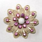 Vintage Celluloid and Pink Rhinestones Brooch - Free USA Shipping