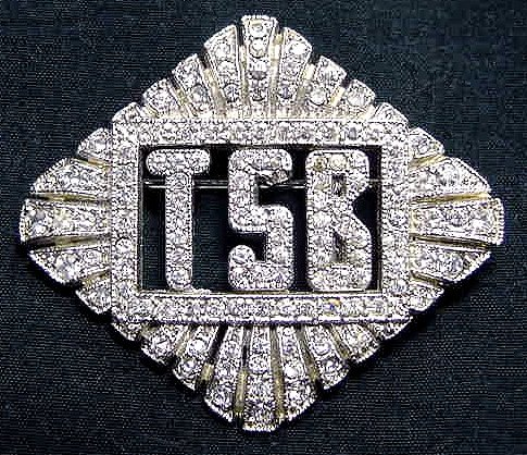 Art Deco Rhinestone Brooch - TSB Monogram