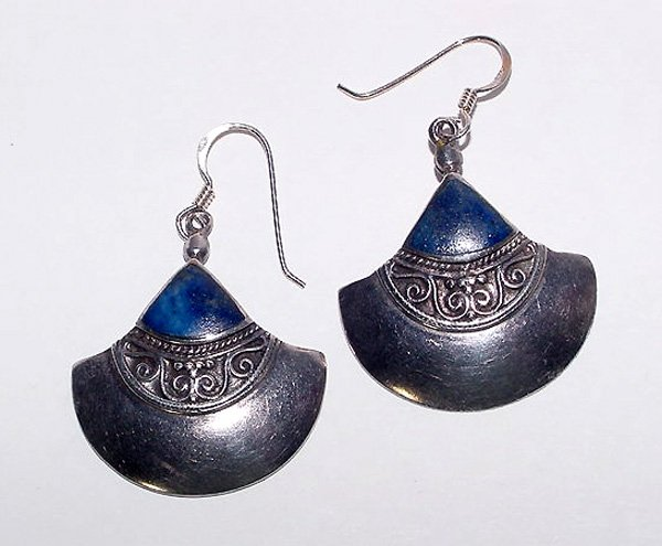Sterling and Lapis Lazuli Tribal Pierced Earrings - Free USA Shipping