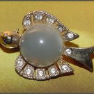 Frosted Lucite Bird Jelly Belly Brooch-