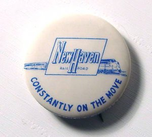 1950s New Haven Railroad Pinback - Free USA Shipping