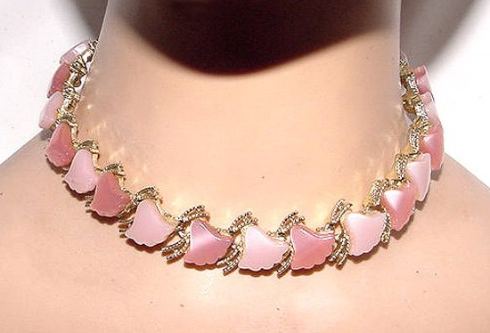 Pink & Rose Colored Lucite Choker