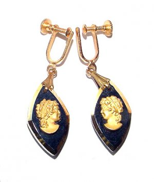 Victorian Revival Glass Cameo Drop Screwback Earrings - Free USA Shipping