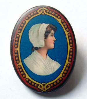 Antique Cocoa Advertising (Chocolate Girl) Pinback - Free USA Shipping