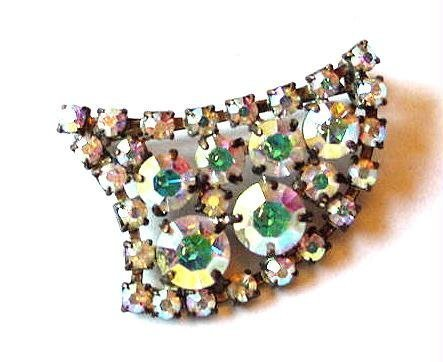 Vintage 1950s Modernist Aurora Borealis Brooch - Free USA Shipping