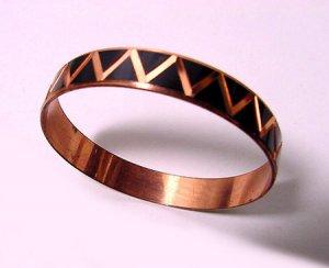 Vintage Copper Bangle with Black Enamel Design - Free USA Shipping