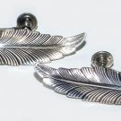 Vintage Sterling Figural Feather Screwback Earrings - Free USA Shipping