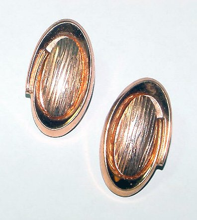 Signed Renoir Modernist Copper Clip Earrings - Free USA Shipping