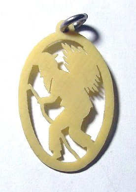 1920s German Celluloid Pendant of Woodcutter - Free USA Shipping