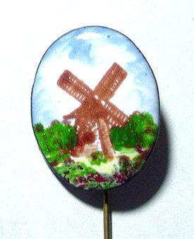 Handpainted Glass Enamel Vintage Windmill Stickpin