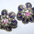 Vintage Handpainted Enamel Rose and Rhinestone Earrings - Free USA Shipping
