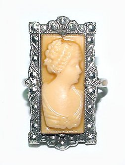 1920s Art Deco Celluloid Cameo Ring